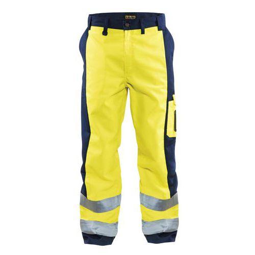Pantalon haute visibilité jaune fluorescent/marine, genoux préformés