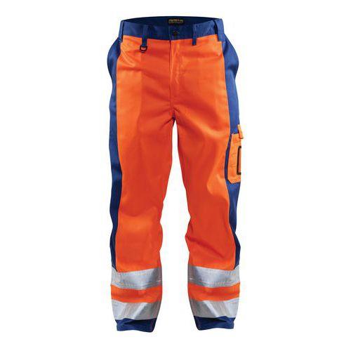Pantalon haute visibilité orange fluorescent/bleu roi
