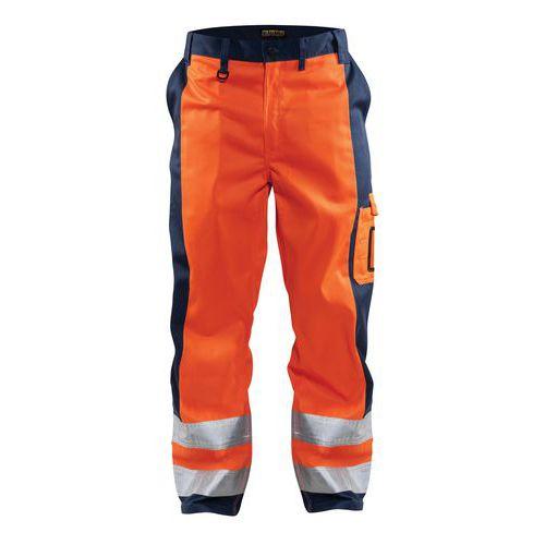 Pantalon haute visibilité orange fluorescent/marine, genoux préformés
