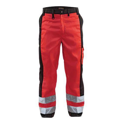 Pantalon haute visibilité rouge fluorescent/noir, genoux préformés