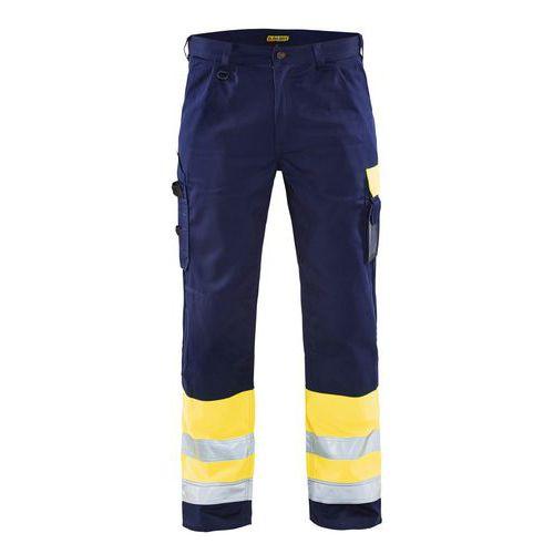 Pantalon haute visibilité jaune fluo/marine, poche arrière à rabat