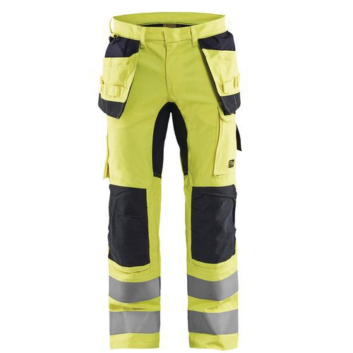 Pantalon multinormes inhérent stretch jaune fluorescent/marine