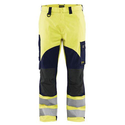 Pantalon multinormes inhérent jaune fluo/marine avec poche pour badge
