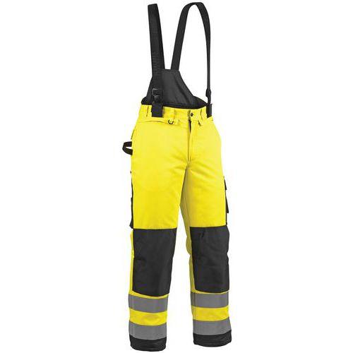 Pantalon hiver haute visibilité jaune fluo/noir, guêtre pare-neige