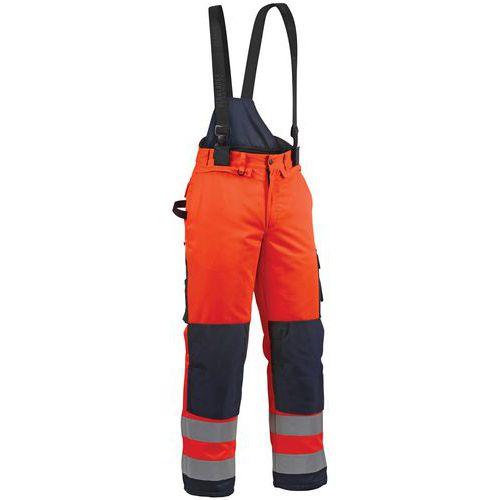 Pantalon hiver haute visibilité orange fluo/marine, guêtre pare-neige