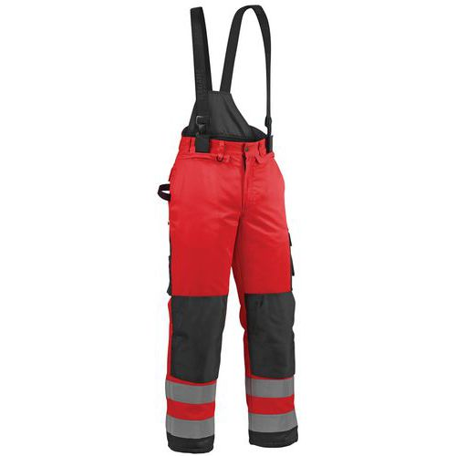 Pantalon hiver haute visibilité rouge fluorescent/noir