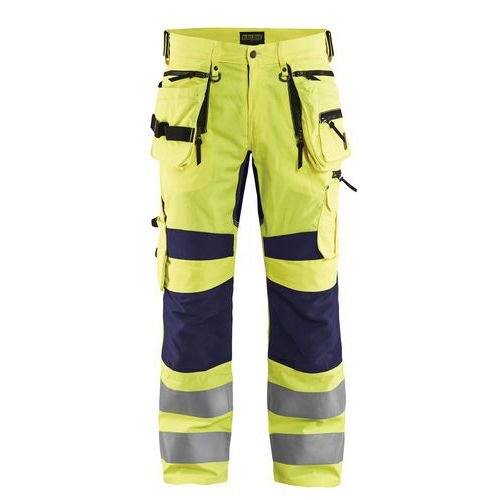 Pantalon artisan stretch haute visibilité jaune fluorescent/marine