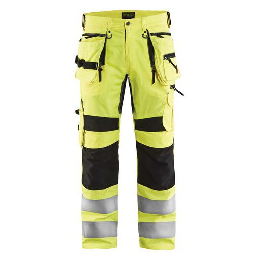 Pantalon artisan stretch haute visibilité jaune fluorescent/noir