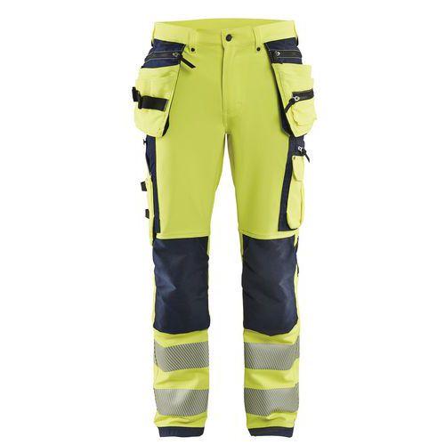 Pantalon stretch 4D haute visibilité jaune fluorescent/noir