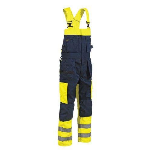 Cotte à bretelles haute visibilité jambes longues jaune fluo/marine