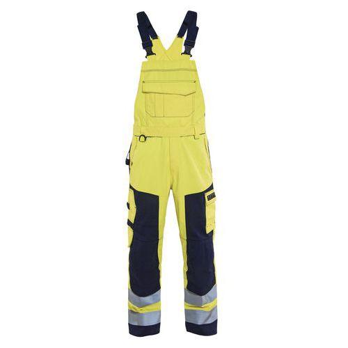 Cotte à bretelles multinormes jaune fluorescent/marine