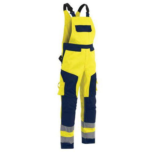 Cotte à bretelles haute visibilité jaune/marine taille ajustable