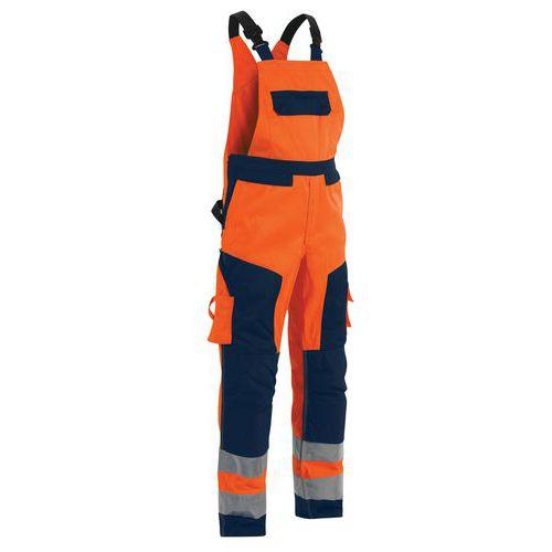 Cotte à bretelles haute visibilité orange/marine taille ajustable