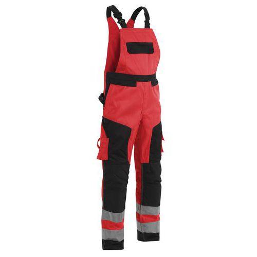 Cotte à bretelles haute visibilité rouge/noir taille ajustable