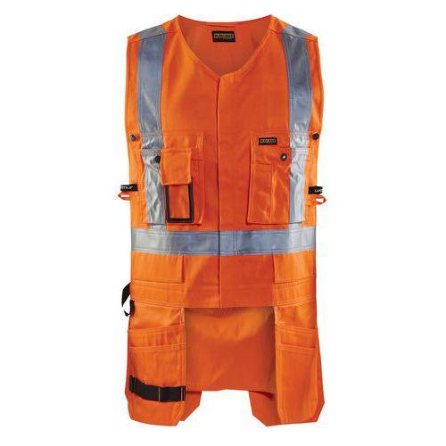 Gilet porte-outils haute visibilité orange fluorescent