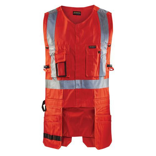 Gilet porte-outils haute visibilité rouge fluorescent