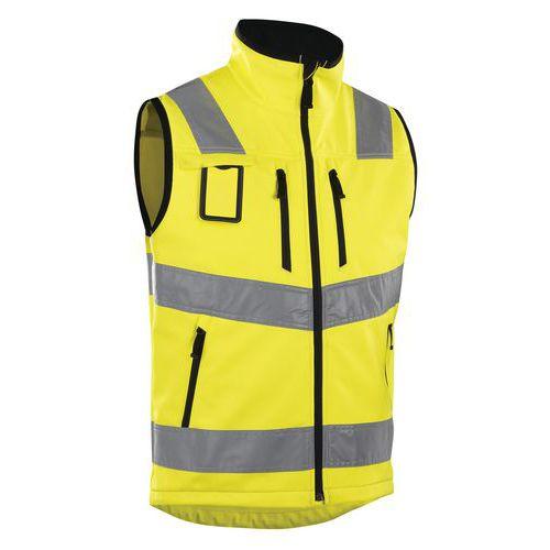 Gilet softshell haute visibilité jaune fluorescent