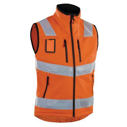 Gilet softshell haute visibilité orange fluorescent