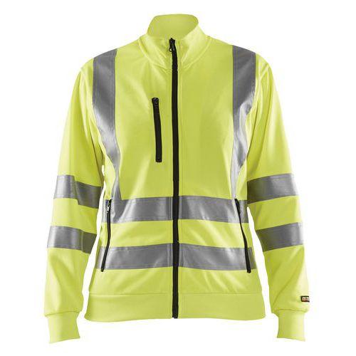 Sweat zippé haute visibilité femme jaune fluorescent