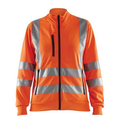 Sweat zippé haute visibilité femme orange fluorescent