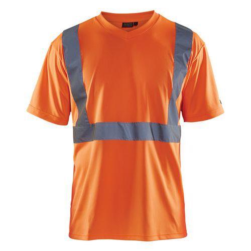 T-shirt haute visibilité col en V orange fluorescent