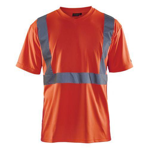 T-shirt haute visibilité col en V rouge fluorescent