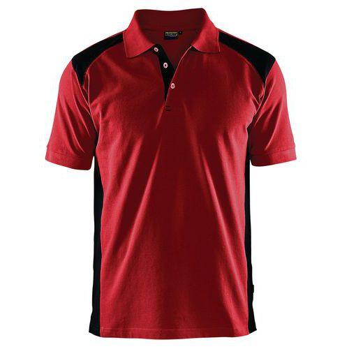 Polo piqué rouge et noir - Manutan.fr