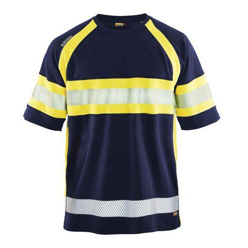 T-shirt haute visibilité marine/jaune fluorescent, matière respirante