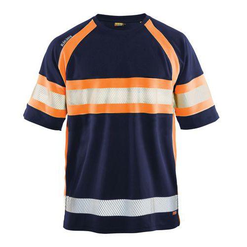 T-shirt haute visibilité marine/orange fluorescent, matière respirante