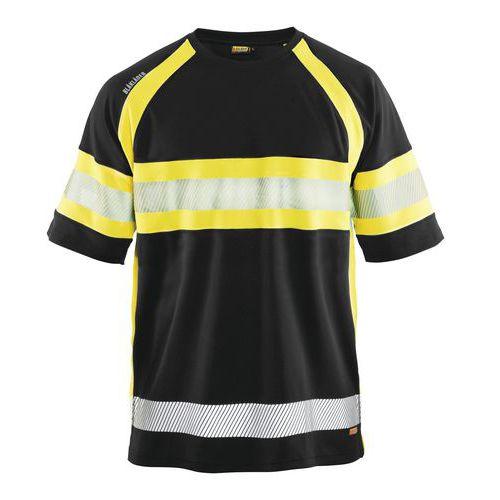 T-shirt haute visibilité noir/jaune fluorescent, matière respirante