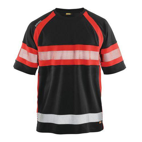 T-shirt haute visibilité noir/rouge fluorescent, matière respirante