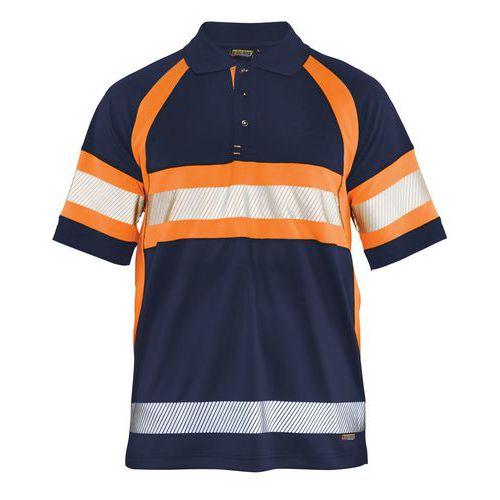 Polo haute visibilité marine/orange fluorescent