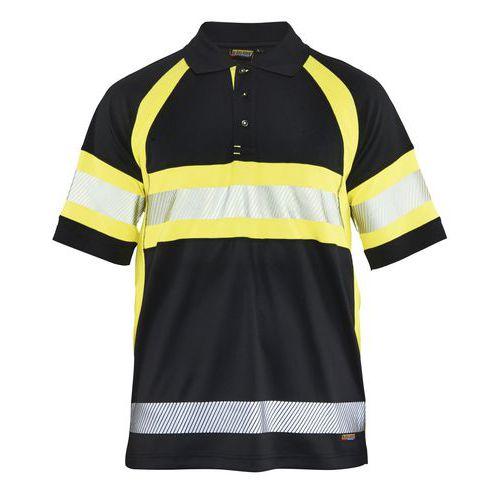 Polo haute visibilité noir/jaune fluorescent