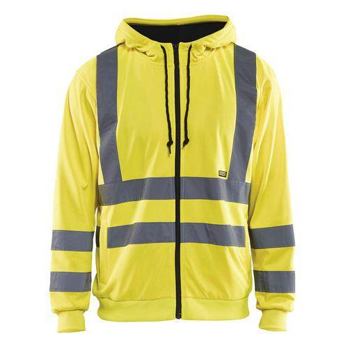 Sweat zippé à capuche haute visibilité jaune fluorescent