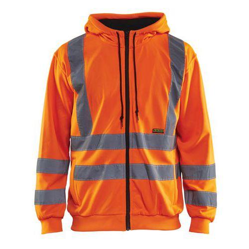 Sweat zippé à capuche haute visibilité orange fluorescent
