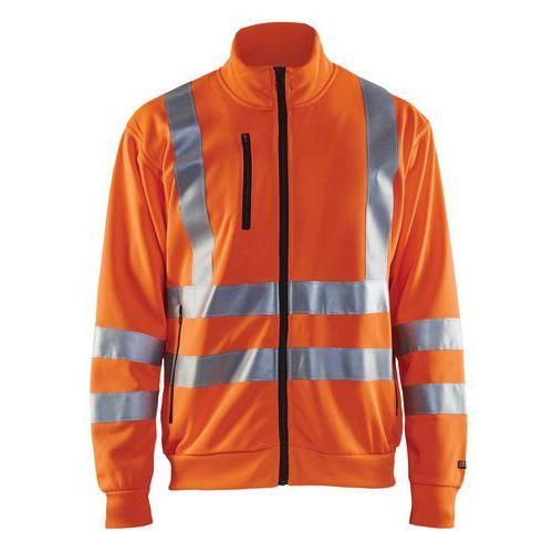 Sweat zippé haute visibilité orange fluorescent