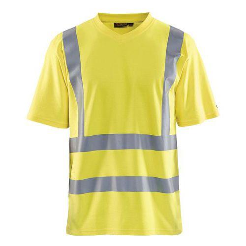 T-Shirt haute visibilité col en V anti-UV jaune fluorescent