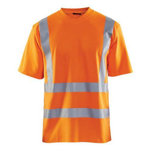 T-Shirt haute visibilité col en V anti-UV orange fluorescent