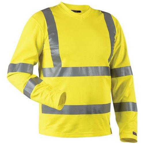 T-Shirt manches longues HV col en V jaune, matière respirante