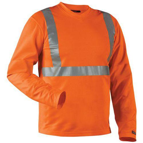 T-Shirt manches longues haute visibilité col en V anti-odeur orange