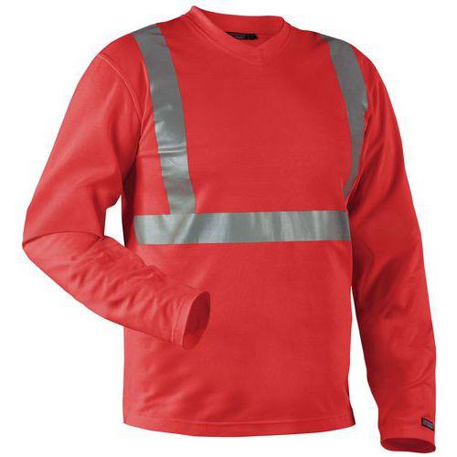 T-Shirt manches longues haute visibilité col en V anti-odeur rouge