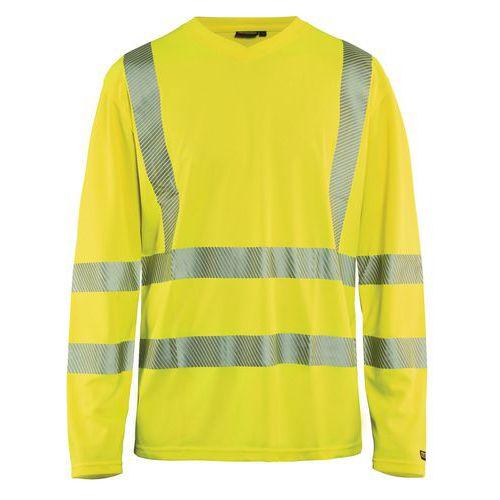 T-shirt manches longues haute visibilité col en V anti-UV jaune