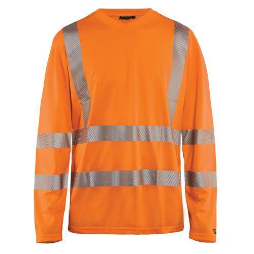 T-shirt manches longues haute visibilité col en V anti-UV orange