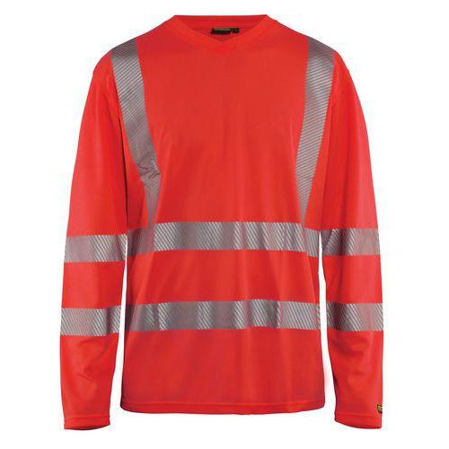 T-shirt manches longues haute visibilité col en V anti-UV rouge