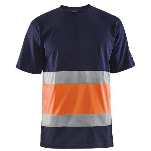 T-shirt haute visibilité col rond marine/orange fluorescent