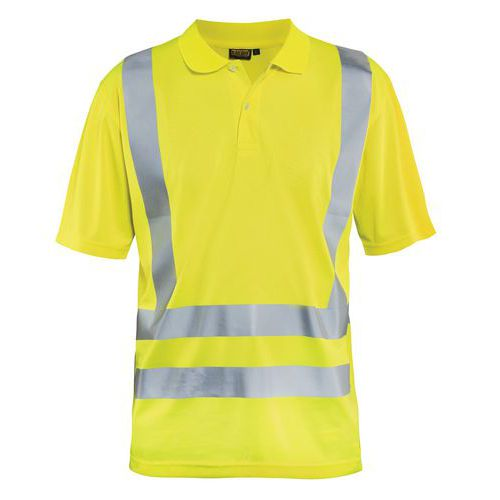 Polo anti-UV haute visibilité jaune fluorescent