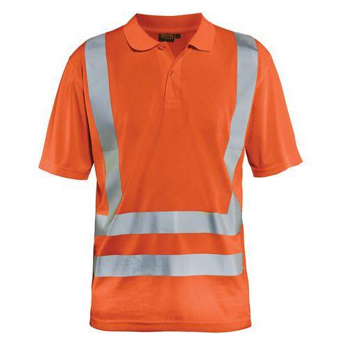 Polo anti-UV haute visibilité orange fluorescent
