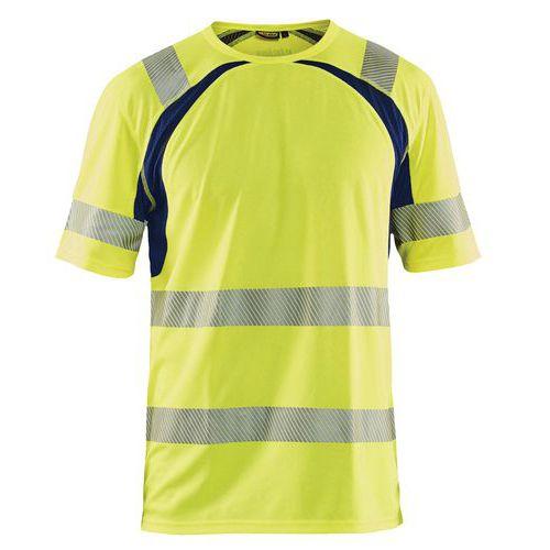 T-shirt anti-UV haute visibilité jaune fluorescent/marine