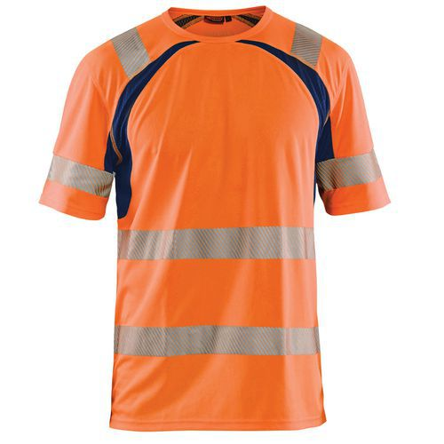 T-shirt anti-UV haute visibilité orange fluorescent/marine