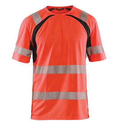 T-shirt anti-UV haute visibilité rouge fluorescent/noir